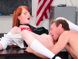 Redhead babe takes her teachers hard rod