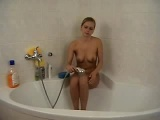 Enchanting blonde teen slut nasty shower solo pussy show