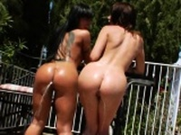 Nasty lesbians fill up their monster bootys with milk76ksZ