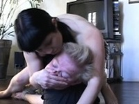 Breasty cuties dominating a boy by sitting on his face
