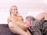 Nice-looking young lady gets licked by mad old fucker