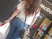 Good looking girl with a beautiful round butt candid