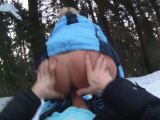 Cocksucking snowbunny banged in the cold