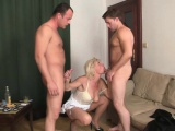 Hot threesome sex with blonde mature woman
