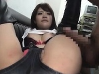 Hairy asian girlfriend toying