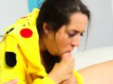 Teen sucking her nipples first time Poke Man Go!