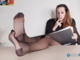 Secretary in pantyhose and heels foot teasing