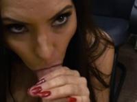 MILF Sophie Leon sucks a pawndudes cock