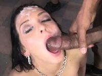 Interracial fuck and cum drench