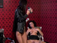 Lesbian serf gets gagged and fur pie dildoded hard